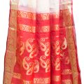 Red and Golden Color Tasar Silk Saree